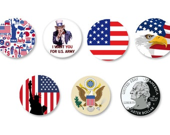 Pine Ø25mm Pinback Button Badge set - O38mm / Magnet o38mm USA America United States of America United States