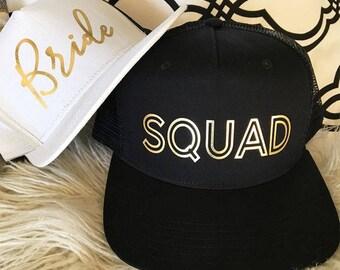 Bride Squad Black White Gold Trucker Hat - Bridesmaid Gifts, Wedding, Bride