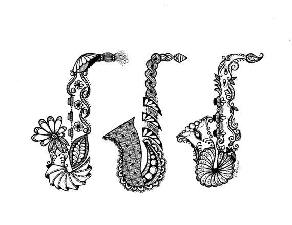 Saxophones Zentangle Art Dessins Plume Et Encre Noir Et Blanc à La Main Art Dessiné Sur Mesure Dessin Fleuri Instruments De Musique