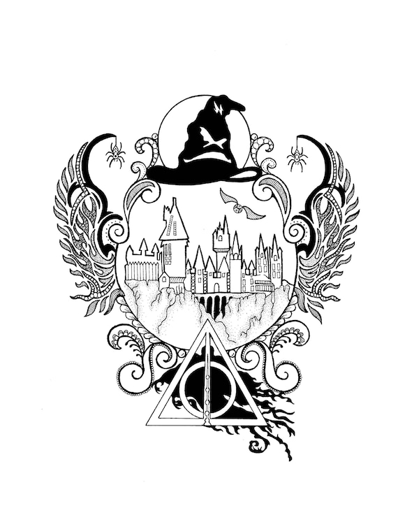 Harry Potter Hogwarts Zentangle Art Drawings Pen And Ink Etsy