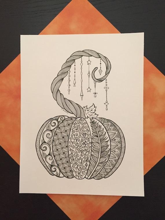 Halloween Pumpkin 1 Zentangle Art Drawings Pen And Ink Etsy