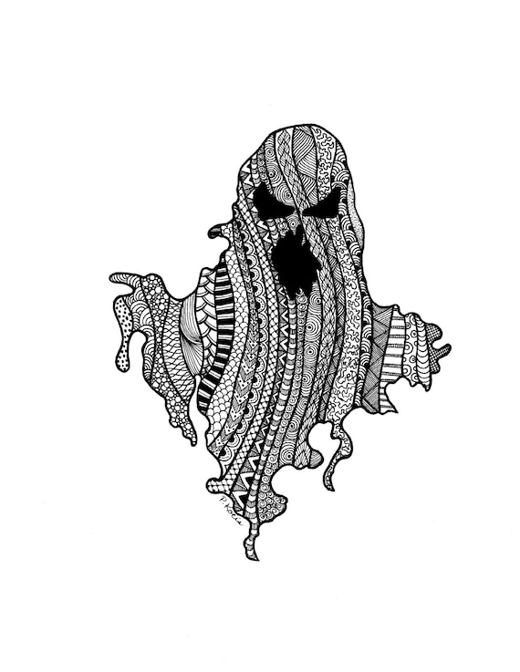 Fantôme D Halloween Zentangle Art Dessins Plume Et Encre Noir Et Blanc à La Main Art Dessiné Sur Mesure Dessin Fleuri Décor D Halloween
