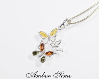 ZB0367 Amber Butterfly Multicolour Amber Butterflies Pendant /& Sterling Silver Ag 925