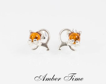 b2835ae7ab7d SB0092 Natural Baltic Amber Little Cat Stud Earrings   Sterling Silver Ag  925