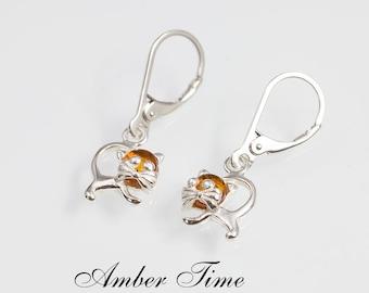 6b09f7bb4fa3 KB0092 Natural Baltic Amber Cat Dangle Earrings   Sterling Silver Ag 925