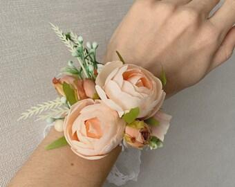 Pick your favorite Peony /& ribbon colors! Peony Rhinestone Wrist Corsages