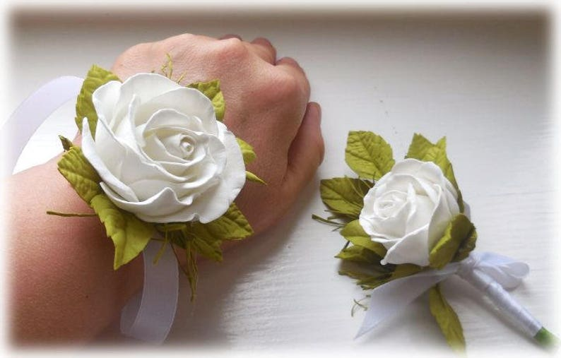 Wrist Corsage and Boutonniere wedding set Corsage Mother of image 0