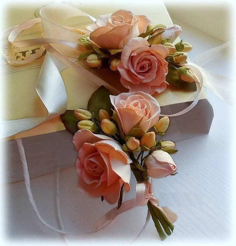 Wedding Peach Flower Set Wedding Accessory Flower Bridesmaid image 0