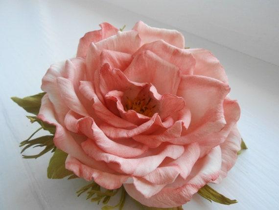 Flower Hair Roses Bridal Hair Clip Flower Wedding Pink Bridal Etsy