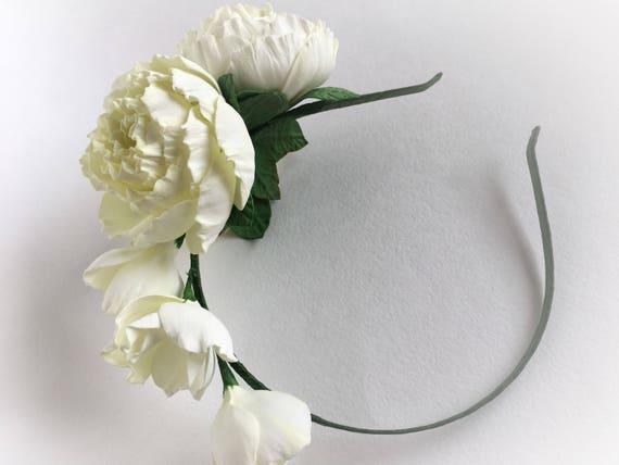 Fleur Blanche Couronne Fleurs Mariage Mariee Bandeau Mariage Etsy