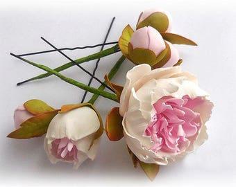 Wedding Peony Hair pins Flower Bridal hair pins Flower bridal accessory White Hair pins Set accessory Wedding hair pins Shabby wedding White