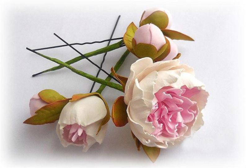 Wedding Peony Hair pins Flower Bridal hair pins Flower bridal image 1