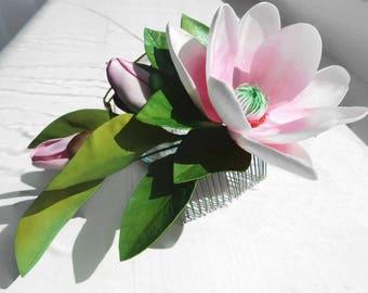 Magnolia jewelry Bridal Combs Wedding Hair comb flower Wedding hair piece Bridal hair Bridal Headpiece Wedding Flower hair piece Flower hair
