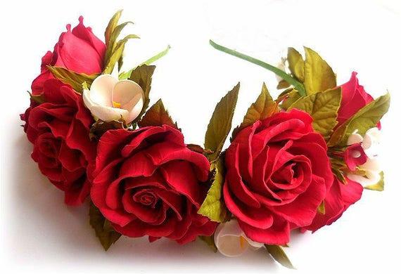 Rote Blume Krone Haarband Braut Blumen Rot Braut Rot Natur Etsy