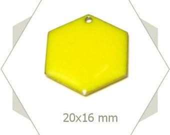 6 sequins hexagons bright yellow SEH09 pendants
