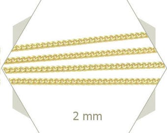 1 m of fine golden chain 2mm indestructible CHD10