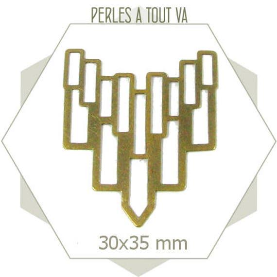6 Connecteurs art déco rectangles plastrons lisses bronze, breloques, sequins ajourés, BB215