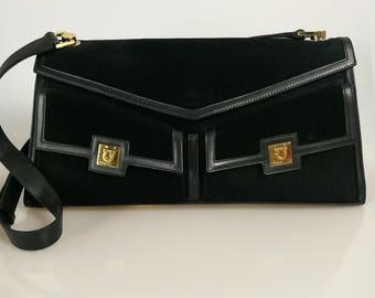661feb031776 SALVATORE FERRAGAMO vintage Gancini suede leather envelope shoulder bag    handbag