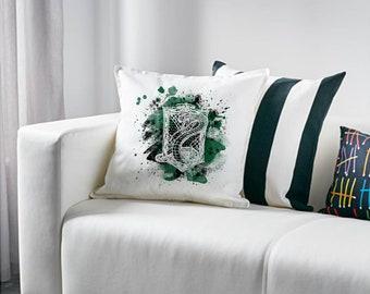 Slytherin pillowcase, Slytherin cushions, Slytherin home decor,