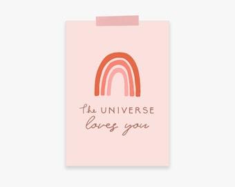The Universe Loves You Printable Wall Art: Small Printable Wall Art Rainbow, Pink Minimalist Wall Art, Digital Printable