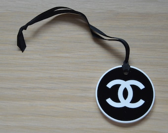 73958ab69 New plastic black with white logo Chanel charm for gift packing authentic  Chanel charm vintage