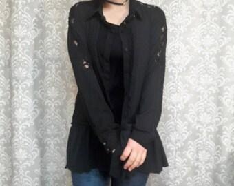 SUMMER SALE Black Lace Jacket, Black Boho Jacket