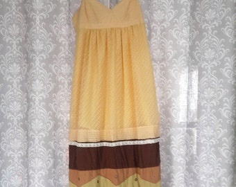 SUMMER SALE Yellow and Brown Boho Hippie Dress