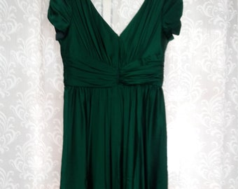 CLEARANCE SPECIAL Size 6 Green Silk Dress 1990s Vintage