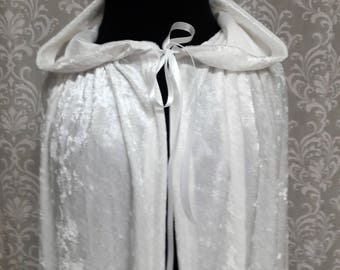 White Hooded Cloak, White Cape with Hood, Snow Queen Cape, Ice Princess Cape