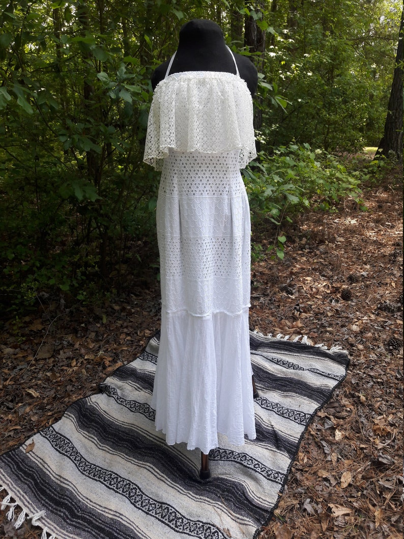 White Boho Beach Dress Casual Beach Wedding Dress White Eco Friendly Dress Hippie Wedding Dress