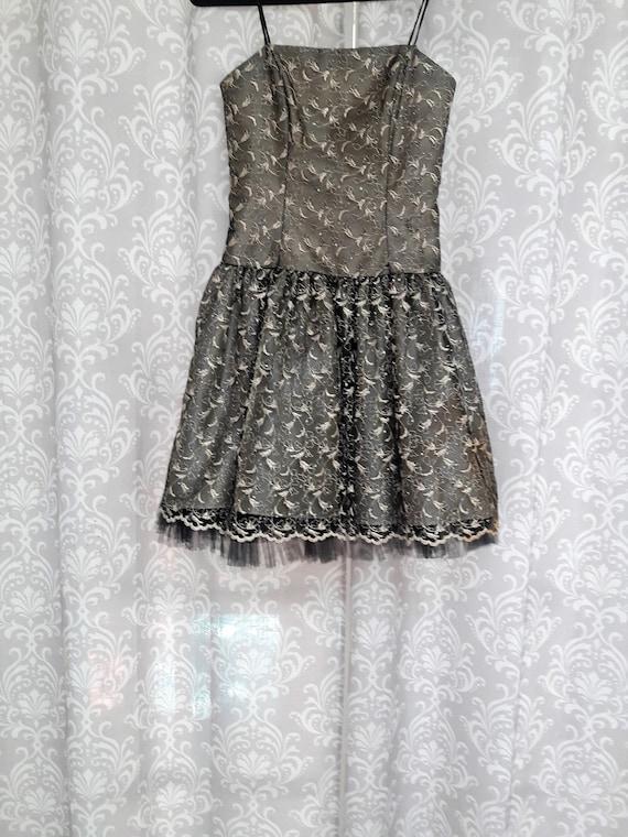 Vintage Prom Dress Gold And Black Prom Dress Short Strapless Etsy