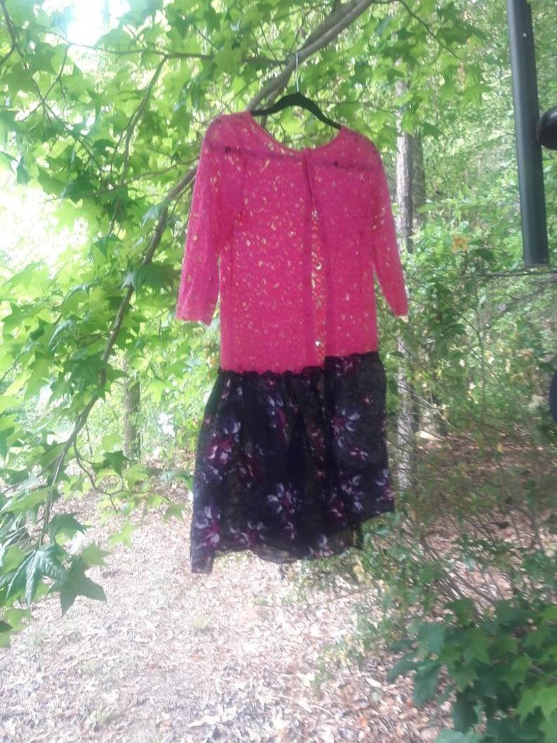 Upcycled jacket Pink Lace Cardigan Feminine lace jacket pink and black jacket Pink Lace Jacket