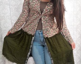 Upcycled Eco Friendly Jacket, Green and Floral Print Jacket, Hippie Jacket, Festival Jacket, Boho Jacket