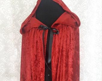 Red Hooded Cloak, Red Cape, Crushed Velvet Hooded Cloak, Cosplay Cloak, Fantasy Cloak, Red Riding Hood Cloak
