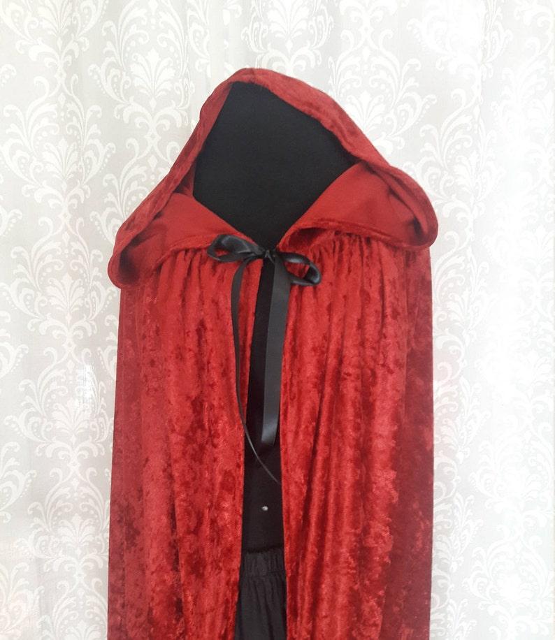 Red Hooded Cloak Red Cape Crushed Velvet Hooded Cloak image 0