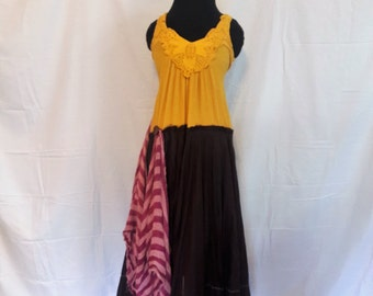 Yellow and Brown Hippie Festival Dress, Upcycled Boho Hippie Dress, Music festival dress, Gypsy Dress
