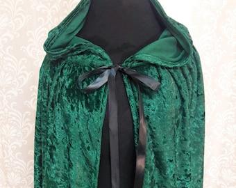Green Hooded Cloak, Dark Green Cape, Crushed Velvet Hooded Cloak, Cosplay Cloak, Fantasy Cloak, Enchanted Forest Cloak