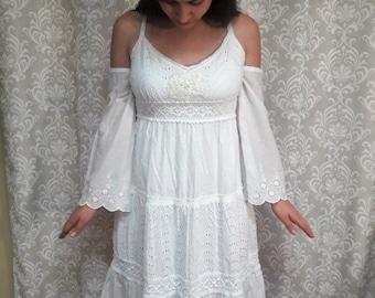 Boho Beach Wedding Dress, White Hippie Wedding Dress, Beach wedding dress, Upcycled eco friendly wedding dress, cotton simple wedding dress
