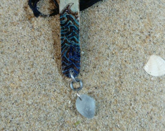 Wave and Sea Glass Pendant Necklace