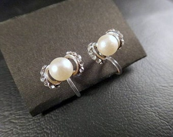 Linestone&Pearl Bead Flower Rose Gold palting  nonhole earring