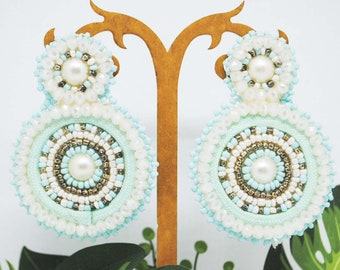 Cerhio earrings with white ice and green beaded crystals, gift idea for her