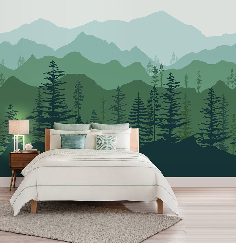 Peel and stick Ombre Mountain pine trees forest scenery nature image 0