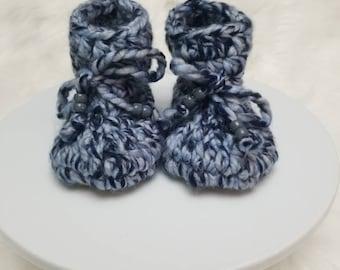 Padraig baby booties / leather sole baby booties / suede baby booties / crochet kids slippers