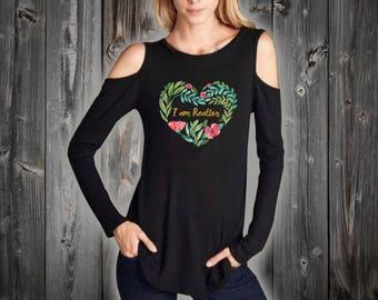 I'm Realtor / Floral Heart / Cold Shoulder T-Shirt