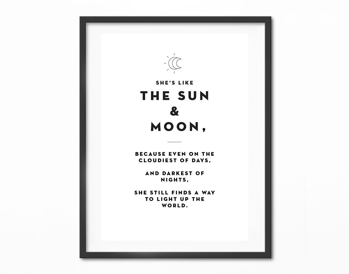 She\'s Like The Sun And Moon Love Quotes Typography   Etsy