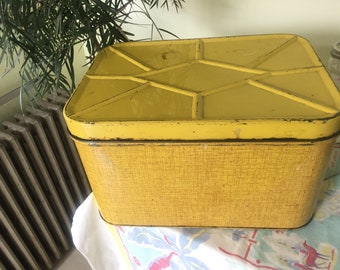 Vintage yellow Nesco tin bread box 1950s retro kitchen storage decor