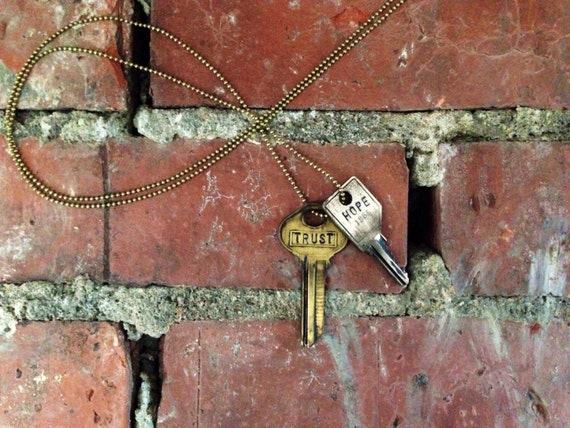 The Key of Purpose Mix-N-Match Duo || Vintage Brass & Distressed Silver  Double Key Necklace || The Extender Hoop SOLD SEPARATELY