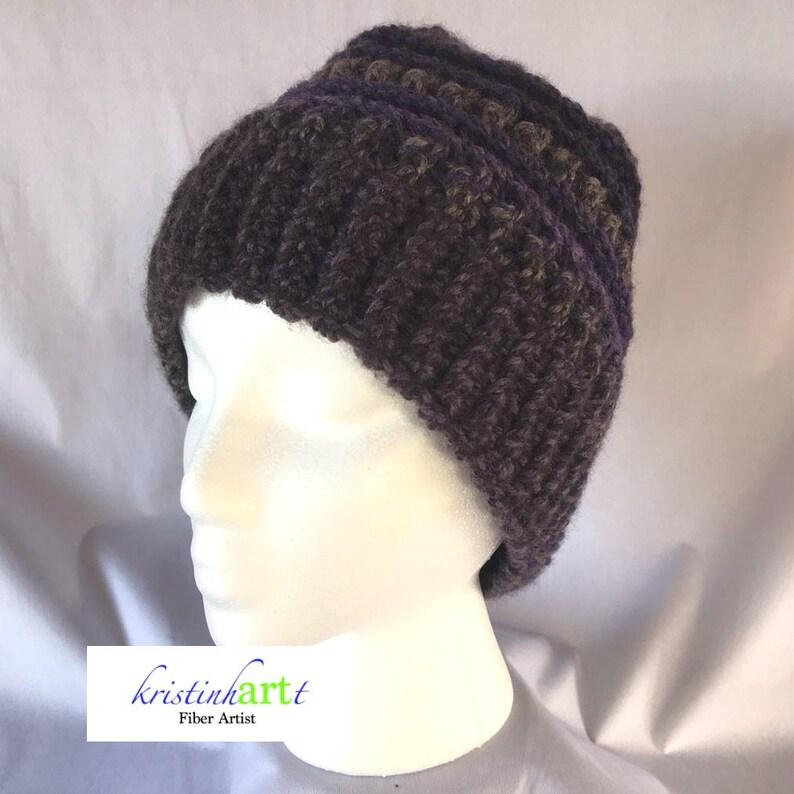 ea2d14a3a20ce Multi Colored Messy Bun Hat   Handmade Crochet   Women s