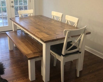 Farmhouse dining table with breadboards (square legs or chunky/turned legs)