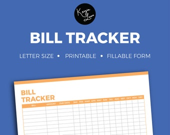 Bill Tracker + Editable + Fillable + Printable + Household + Organization + Tracker + Notes + To Do + Checklist + Organize + Finance